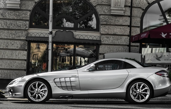 Picture street, silver, the building, silver, Mercedes, Mercedes, street, mclaren, McLaren, building, CPR, slr