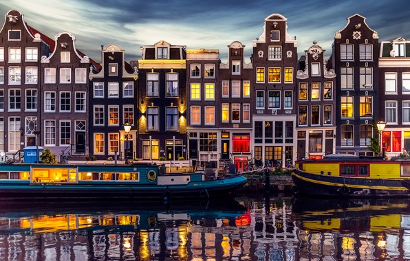 Picture the city, lights, home, the evening, Amsterdam, channel, Netherlands