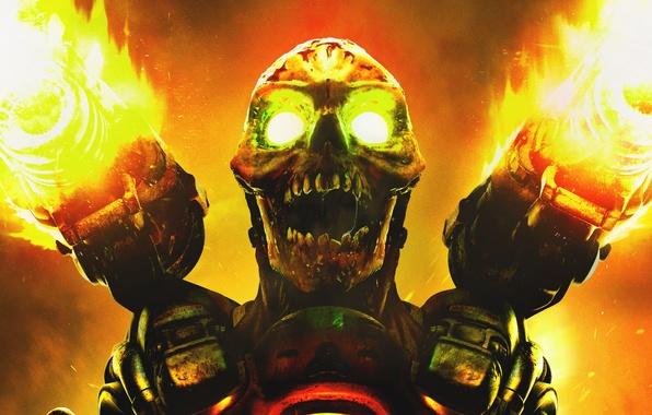 Picture fire, skull, monster, gun, teeth, shot, mutant, DooM, id Software, ZeniMax Media