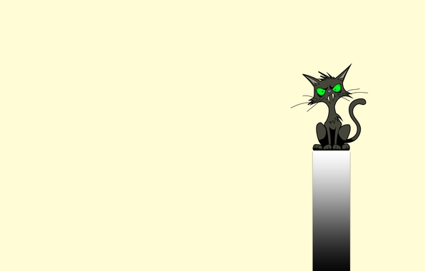 Picture cat, strip, black, minimalism, fangs, sitting, cat, green eyes, fanged
