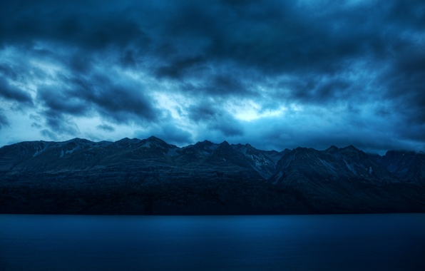 Picture sea, the sky, water, clouds, landscape, mountains, blue, nature, background, blue, widescreen, Wallpaper, calm, silence, ...