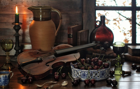Picture cherry, berries, violin, books, bottle, candle, glasses, pitcher, still life, spoon