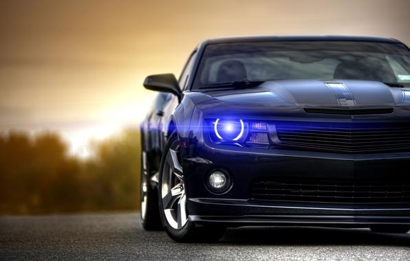 Picture black, Chevrolet, Camaro, Chevrolet, muscle car, black, Blik, muscle car, front, Camaro