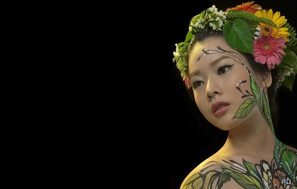 Picture girl, portrait, Asian, body art, body painting, hani nguyen