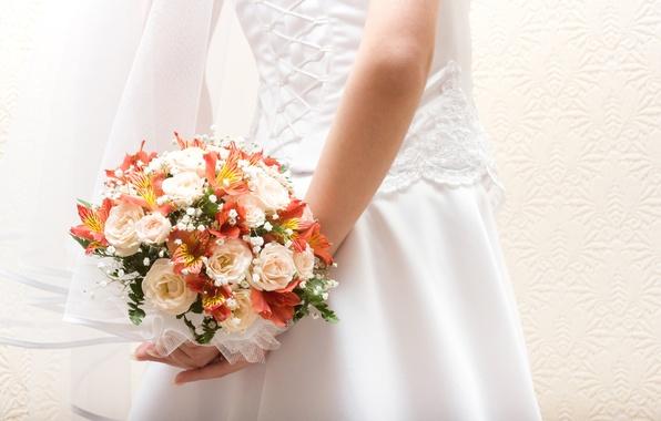 Picture flowers, bouquet, dress, the bride, veil, lacing