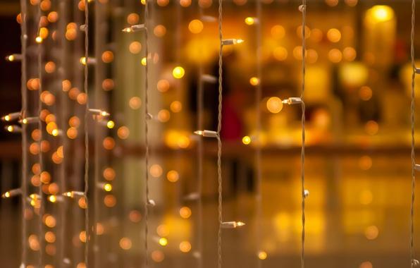 Picture macro, yellow, background, Wallpaper, blur, wallpaper, decoration, garland, light bulb, widescreen, background, bokeh, full screen, …