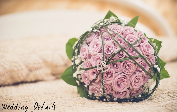 Picture decoration, roses, hearts, buds, wedding bouquet