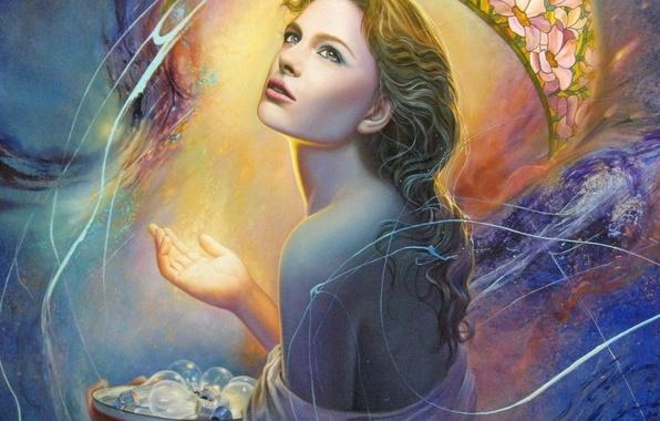 Picture look, girl, light, face, hair, back, hand, art, painting, light bulb, Christiane Vleugels