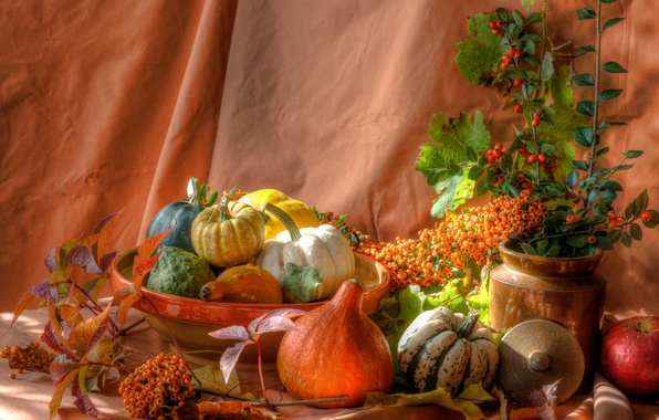 Picture leaves, berries, Apple, pumpkin, still life, dish