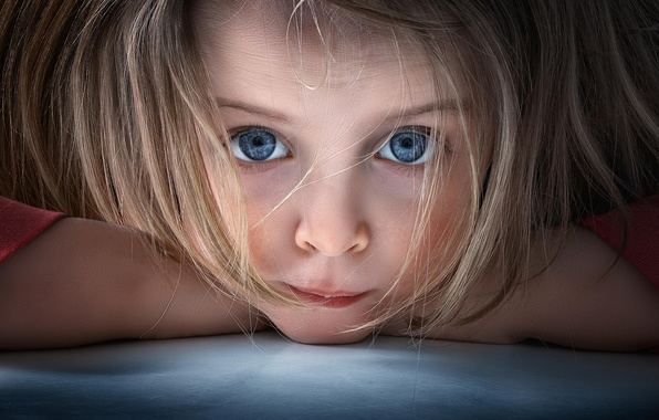 Picture look, macro, portrait, girl, blue-eyed