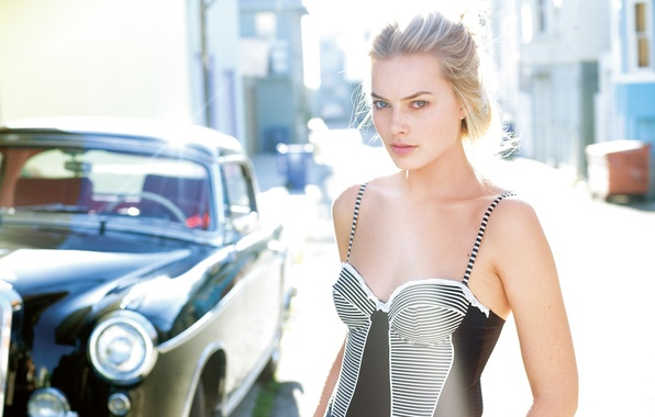 Picture street, dress, actress, hairstyle, blonde, car, Sunny, Margot Robbie, Margot Robbie