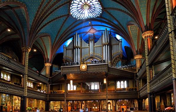 Picture Canada, Church, balcony, religion, column, body, The Notre Dame Basilica, Basilique Notre Dame de Montreal