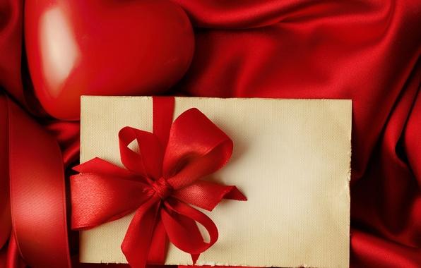 Picture love, heart, red, love, heart, romantic, silk, Valentine's Day