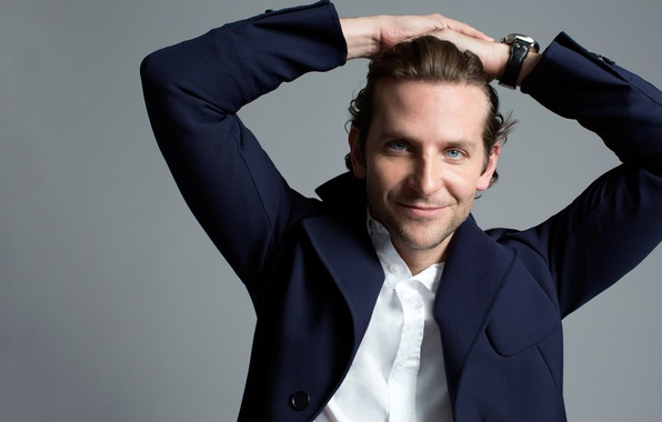 Picture smile, watch, actor, male, shirt, Bradley Cooper, grey background, Bradley Cooper