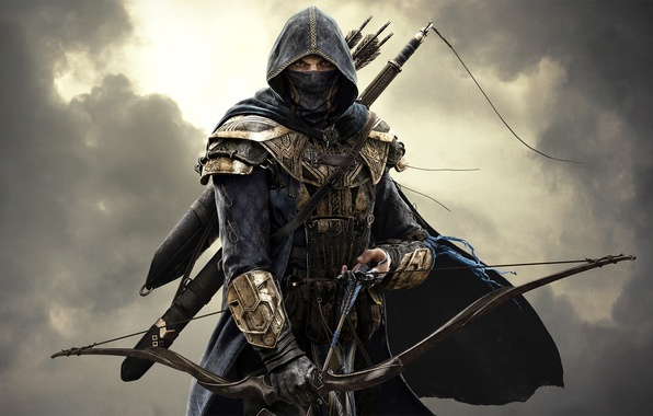 Picture the sky, look, clouds, sword, warrior, mask, bow, hood, armor, arrows, Assassin, killer, Assassin, Bethesda …