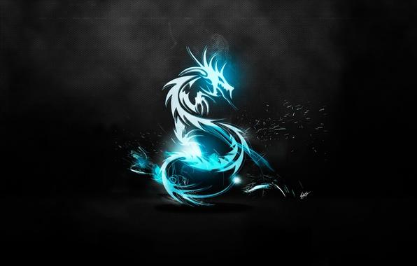 Picture grey, blue, dragon, metalik