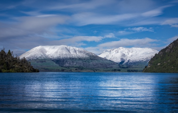 Picture sea, forest, the sky, water, clouds, snow, landscape, mountains, earth, shore, tops, the excitement