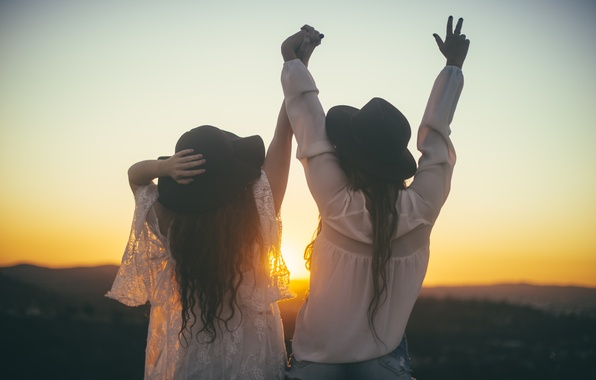 Picture sunset, girls, friendship, friend, hats