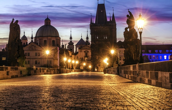 Picture bridge, the city, lights, dawn, building, morning, pavers, Prague, Czech Republic, lighting, lights, architecture, sculpture, …