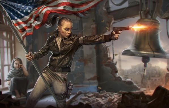 Picture girl, the city, gun, war, child, flag, revolution, bell, Homefront: The Revolution