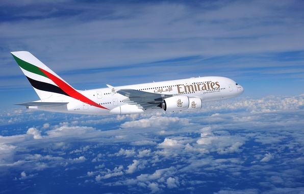 Picture Clouds, The plane, Flight, Day, A380, Airbus, Huge, Side view, Airliner, Emirates Airline