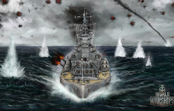 Picture sea, ship, explosions, battle, art, aircraft, the battle, World Of Warship
