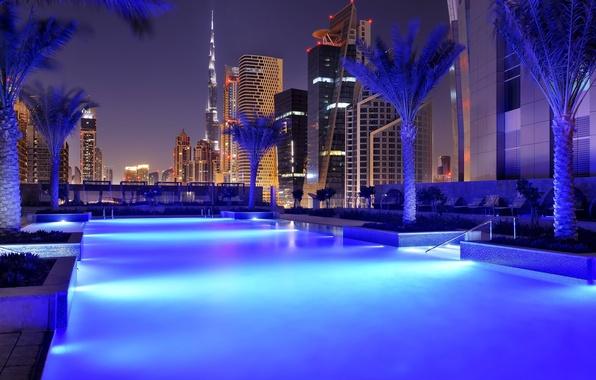 Picture city, the city, home, the evening, pool, Dubai, the hotel, pool, Dubai, sunbeds, skyscrapers, Palma., …