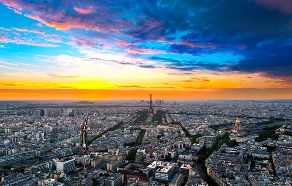 Photo wallpaper the sky, clouds, the city, Eiffel tower, building, Paris, home, horizon, France, paris, street, france