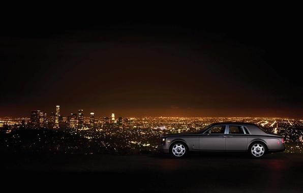 Picture machine, landscape, night, mountain, skyscrapers, Phantom, is, Rolls Royce, night city, side, luxury, Los Angeles, …