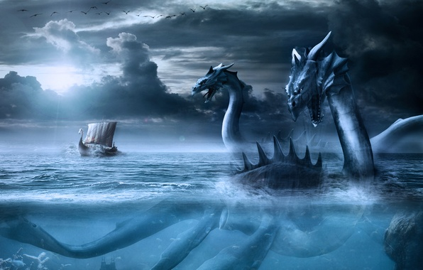 Picture sea, the sky, birds, clouds, dragon, ship, sailboat, monster