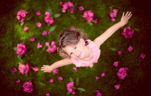 Picture flowers, child, girl