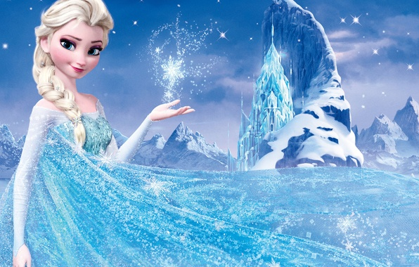 Picture snow, mountains, star, ice, Frozen, Queen, Queen, snowflake, Walt Disney, animation, Walt Disney, 2013, Elsa, …
