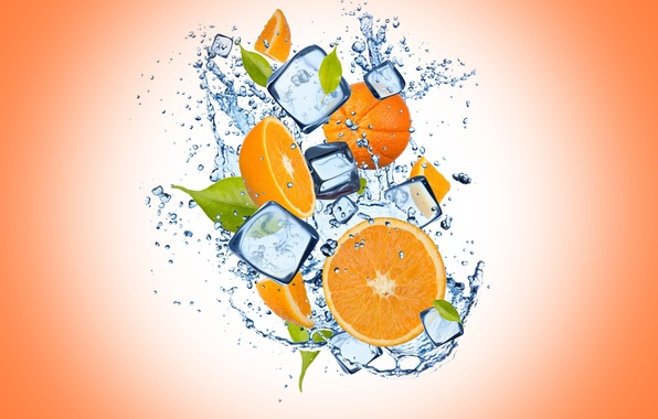 Picture ice, water, drops, orange, ice, orange background, water, slices, orange, drops, cloves, orange background