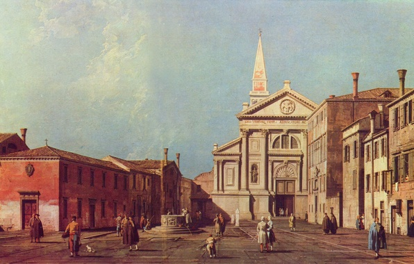 Picture people, building, area, Church, Venice, Italy, Antonio Canaletto