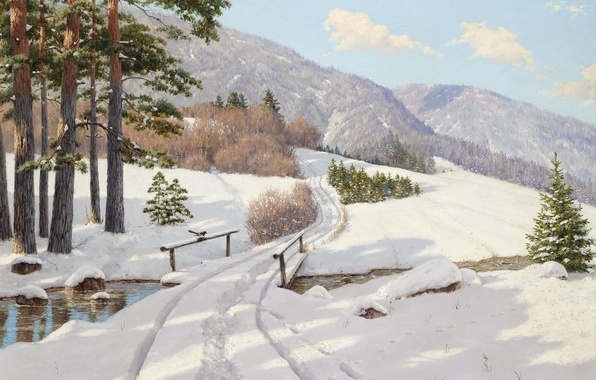 Picture winter, forest, snow, trees, landscape, mountains, bridge, river, tree, picture, the snow, railings, track, pine, ...