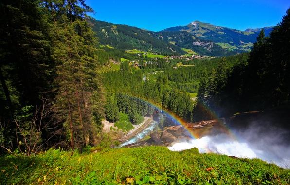 Picture forest, mountains, rainbow, Austria, valley, village, panorama, Austria, Krimml Waterfalls, the Krimml waterfalls