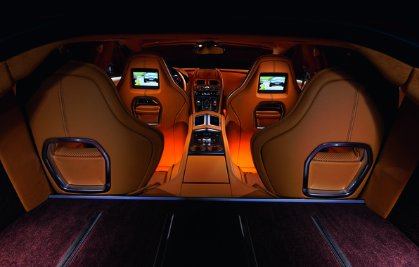 Picture Aston Martin, Rapide, interior, leather, backlight, supercar, exclusive, four-door