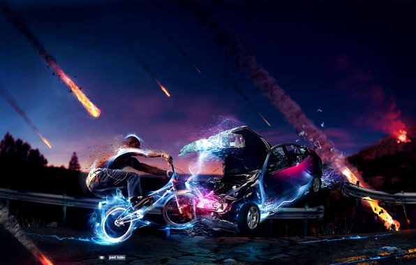 Picture road, machine, crash, the sky, bike, zipper, people, neon, meteorites, bmx