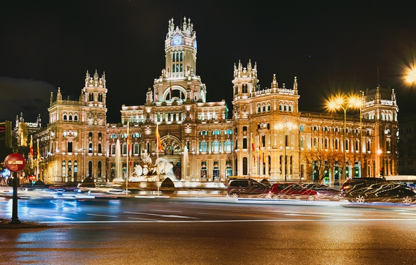 Picture road, asphalt, machine, night, the city, lights, the building, excerpt, architecture, Spain, Spain, Madrid, Madrid, …
