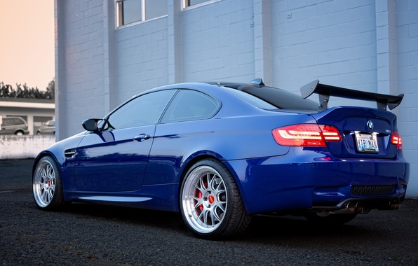 Picture the building, bmw, BMW, drives, blue, headlights, e92, wing, building, BBC, dark blue
