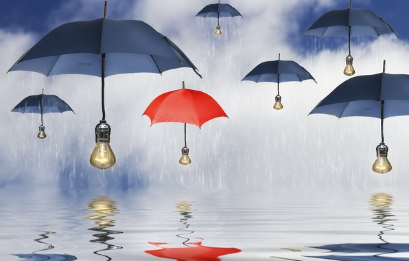 Picture water, reflection, rain, umbrellas, umbrellas, light bulb