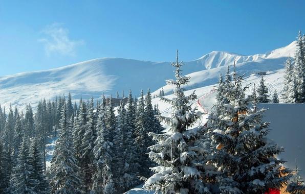Picture winter, snow, mountains, ate, Ukraine, Carpathians, ski resort, Bukovel