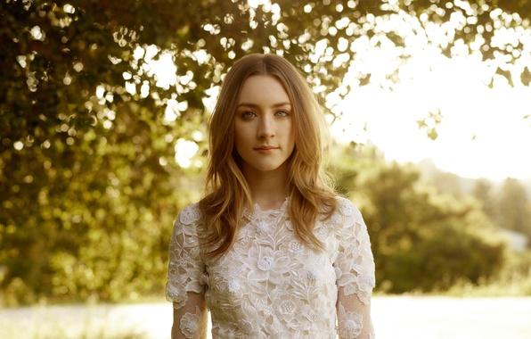 Picture glare, photo, dress, actress, in white, nature, bokeh, Saoirse Ronan, Saoirse Ronan, Harpers Bazaar, You …