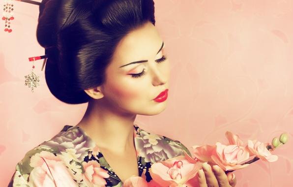 Picture background, Japan, Sakura, hairstyle, kimono, girl. makeup