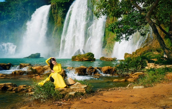 Picture girl, nature, waterfall, dress, East