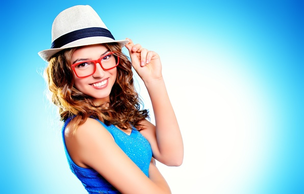Picture look, girl, smile, background, mood, hat, hands, Mike, glasses