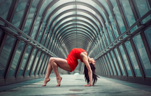 Picture girl, the city, figure, bending, grace, legs, in red, gymnast, Julie Marks