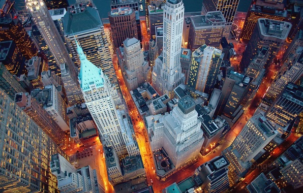 Picture the city, lights, New York, the evening, USA, Manhattan, New York, Wall street