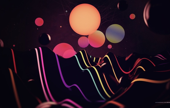Picture wave, color, line, circles, abstraction, rendering