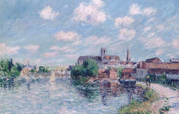 Picture the sky, landscape, bridge, the city, river, home, picture, Gustave Loiseau, The river Yonne in …